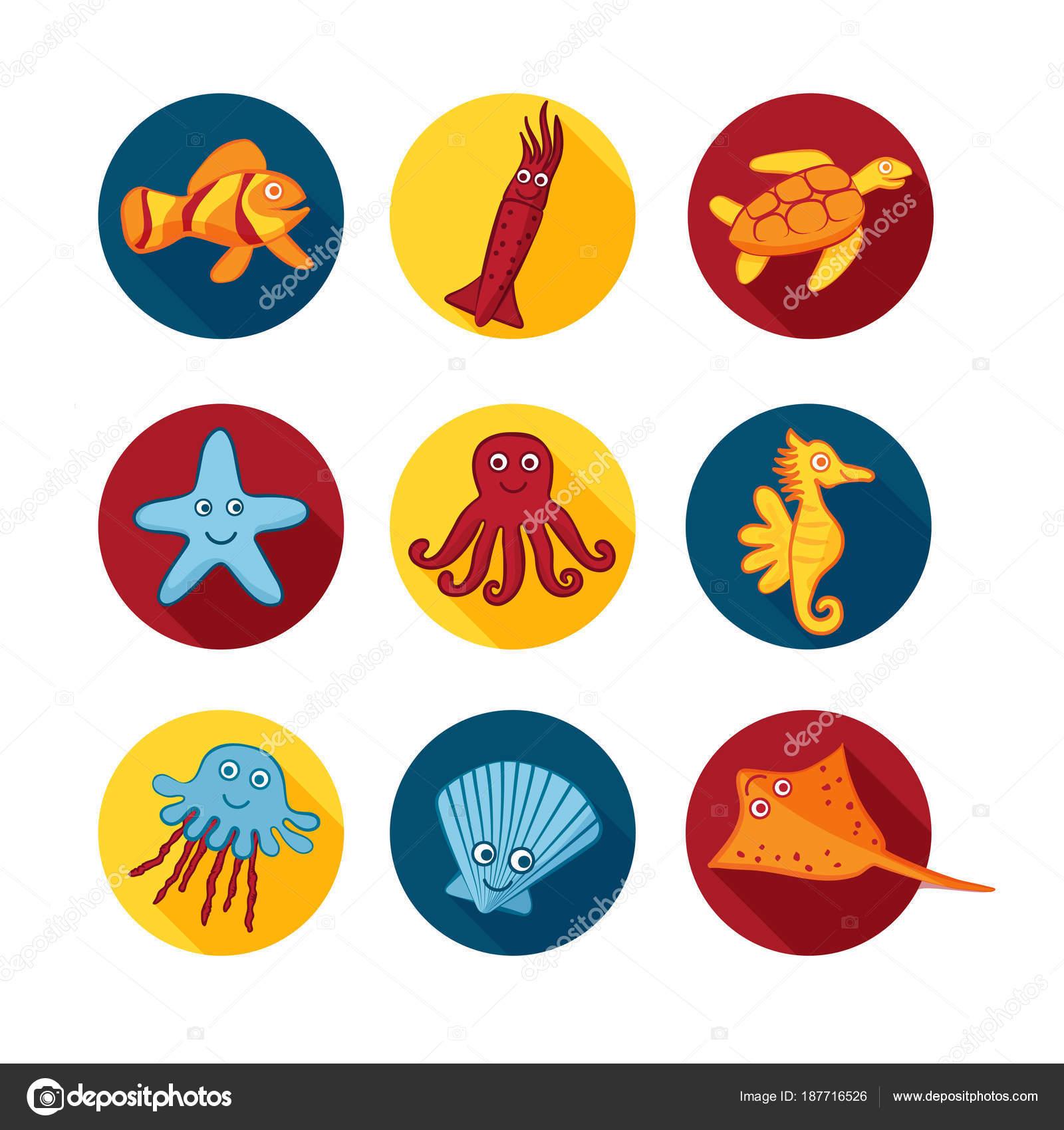 Disegni Colorati Di Mare Per Bambini Icone Di Animali Di Mare