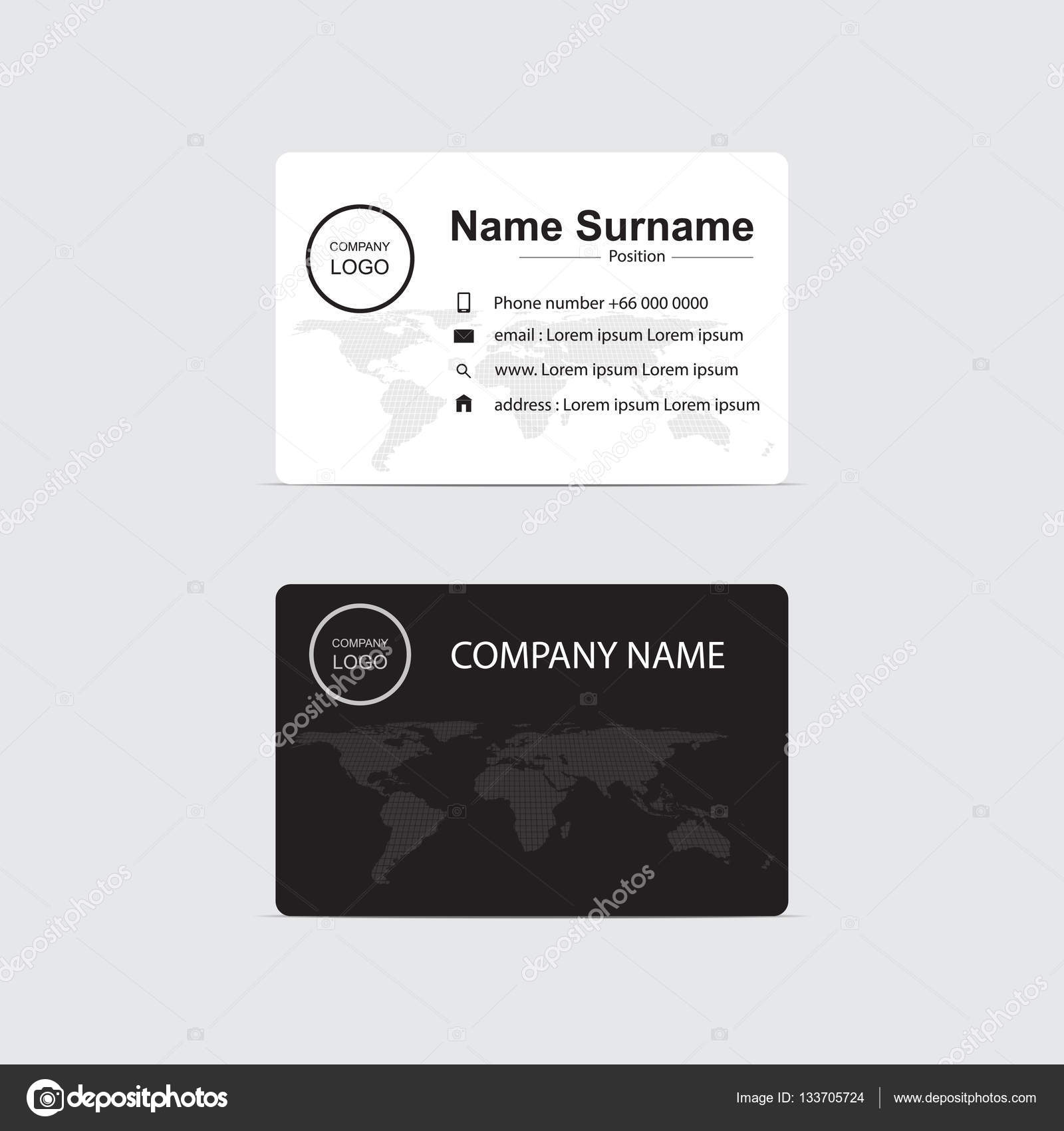 Vector modern business card with digital map some Elements of this ...