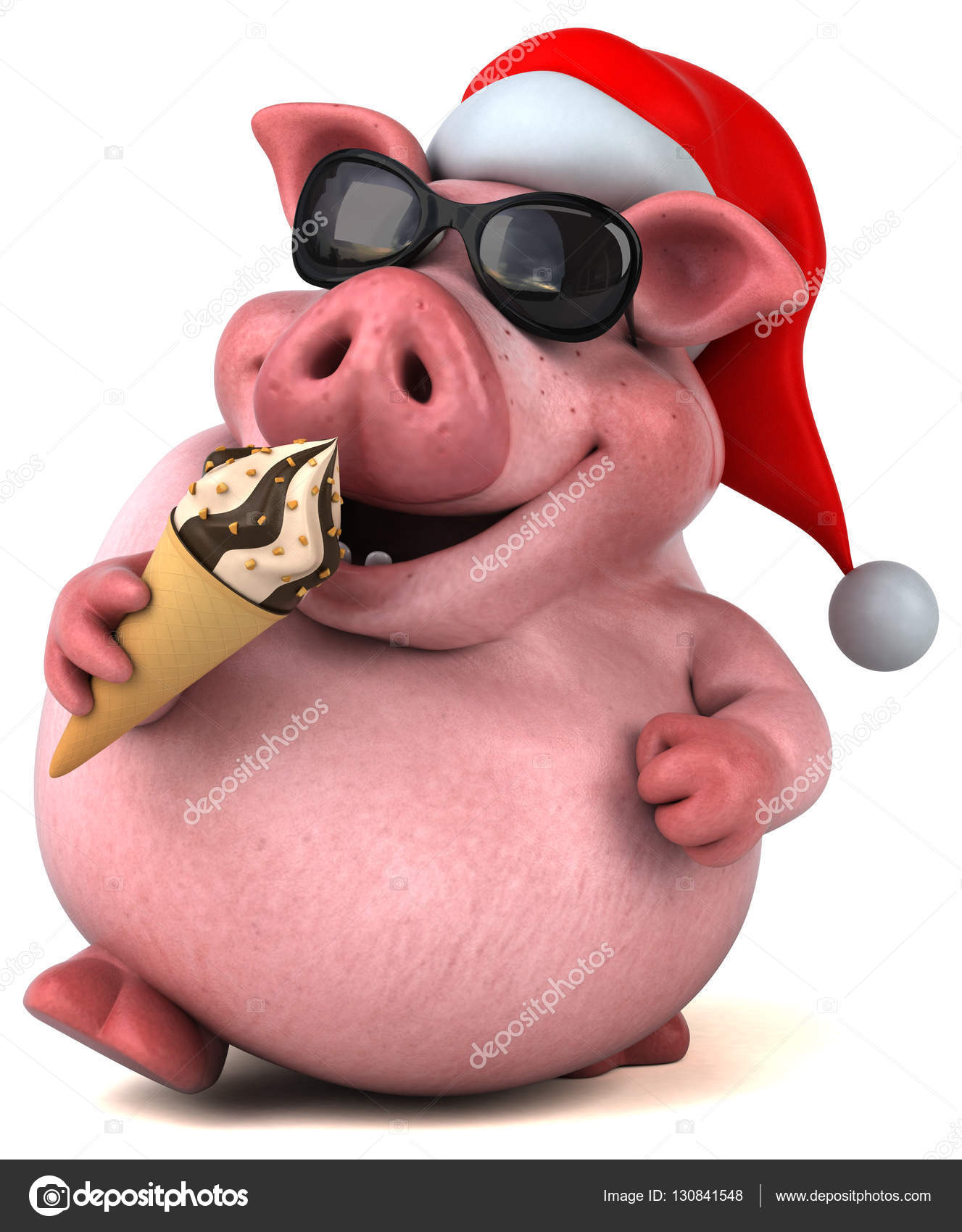 Рисунки карандашом, открытка со свиньей 3д
