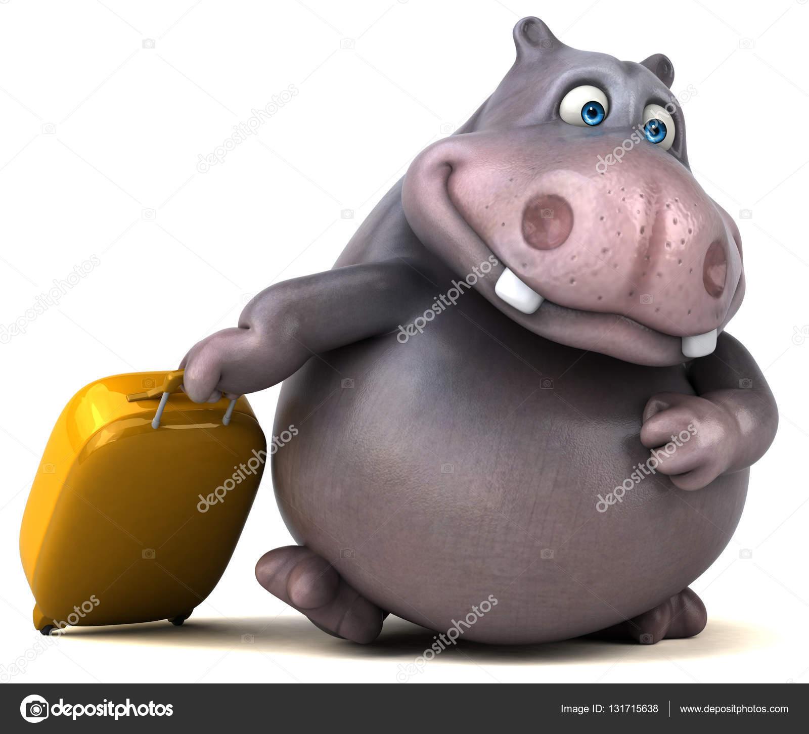 Valigia di cartone animato carattere della holding u2014 foto stock