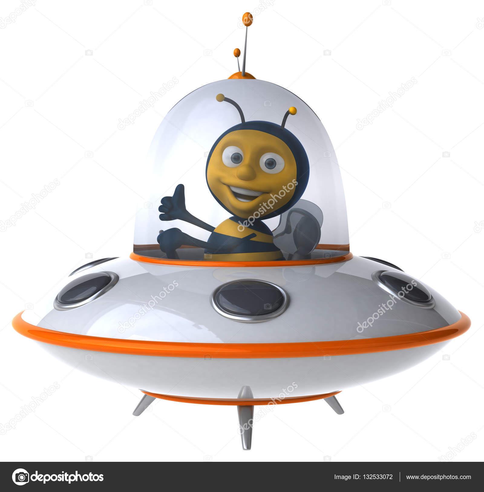 Personaggio dei cartoni animati della nave spaziale u foto stock