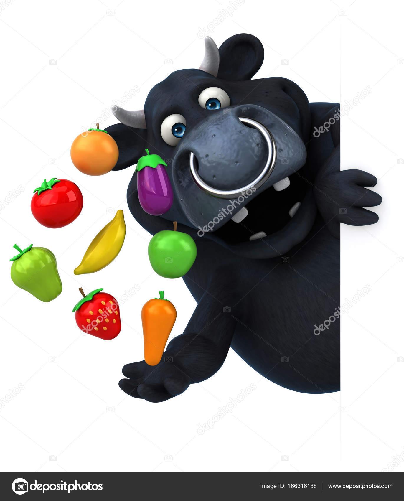 Personaggio dei cartoni animati con frutta e verdura u2014 foto stock