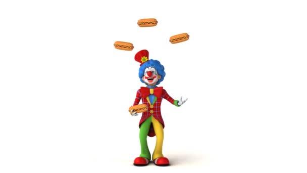 Klauna, žonglování s hotdogy