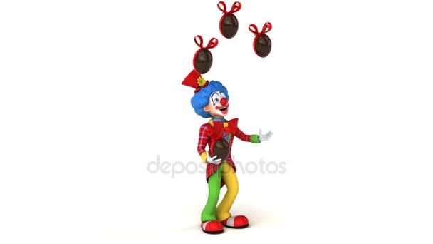 Klauna, žonglování s velikonoční vajíčka