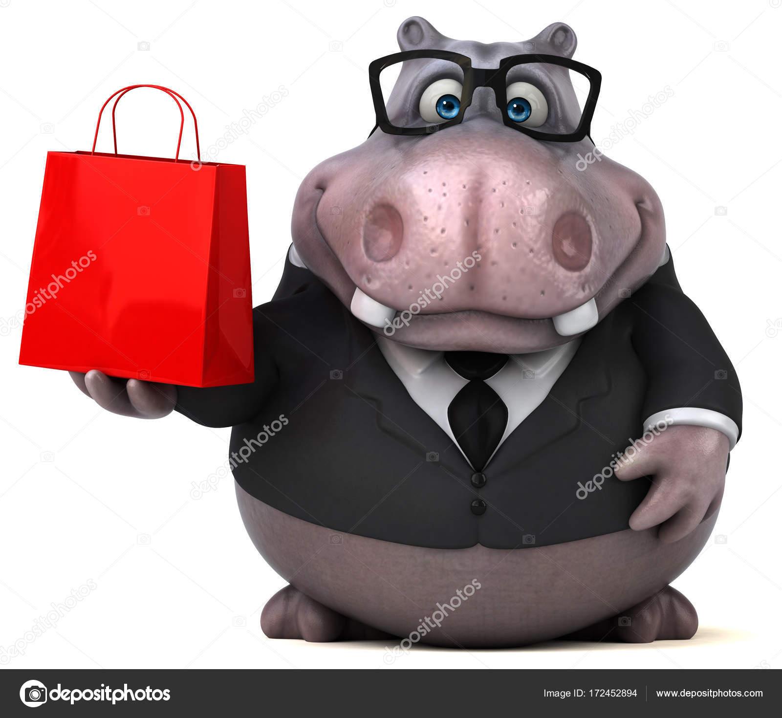 Personaggio dei cartoni animati con borsa della spesa u2014 foto stock
