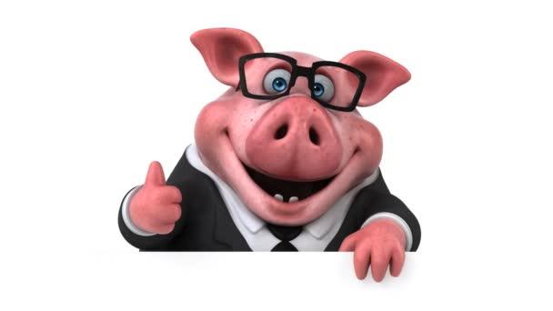 Personaggio dei cartoni animati maiale divertente con pollice