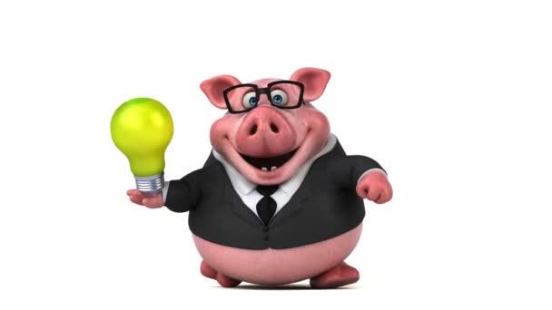 Fronte di personaggio dei cartoni animati di maiale con occhiali