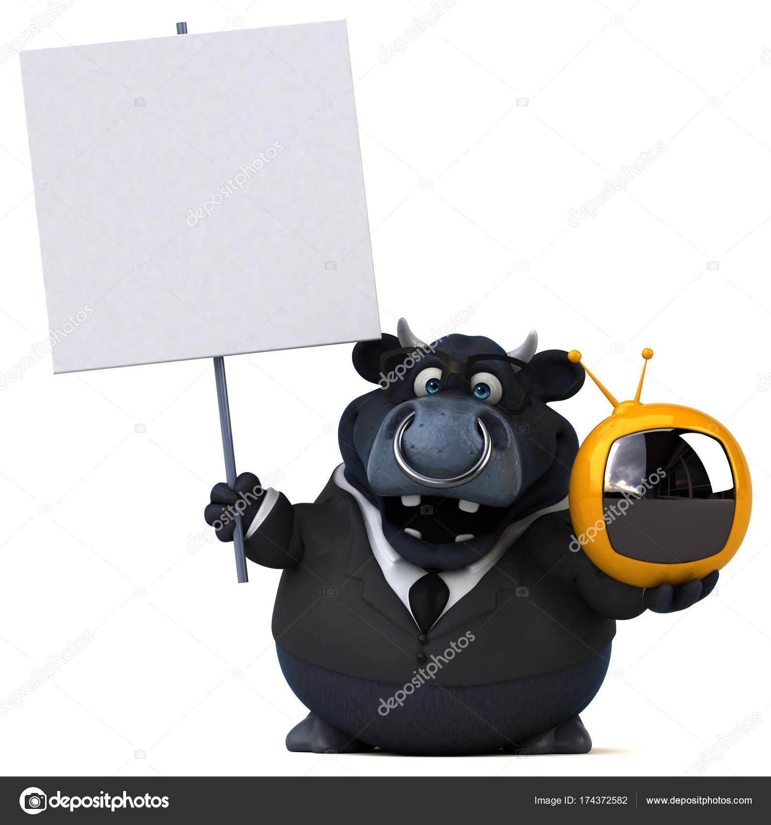 Lustige Comic Figur Mit Tv Stockfoto Julos 174372582
