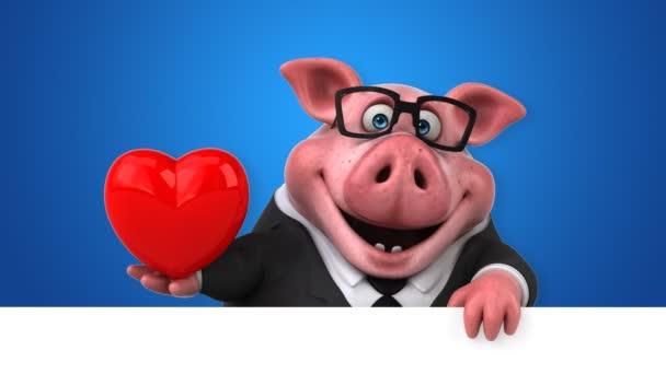 Personaggio dei cartoni animati di maiale con cuore u video stock