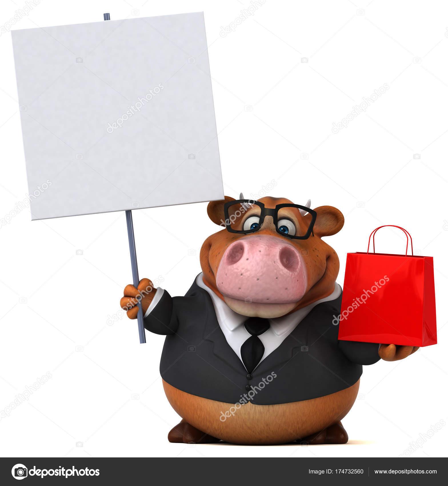 Personagem Desenho Animado Divertido Com Sacola Compras Ilustração
