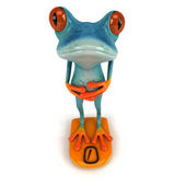 Fun frog on scales  - 3D Illustration