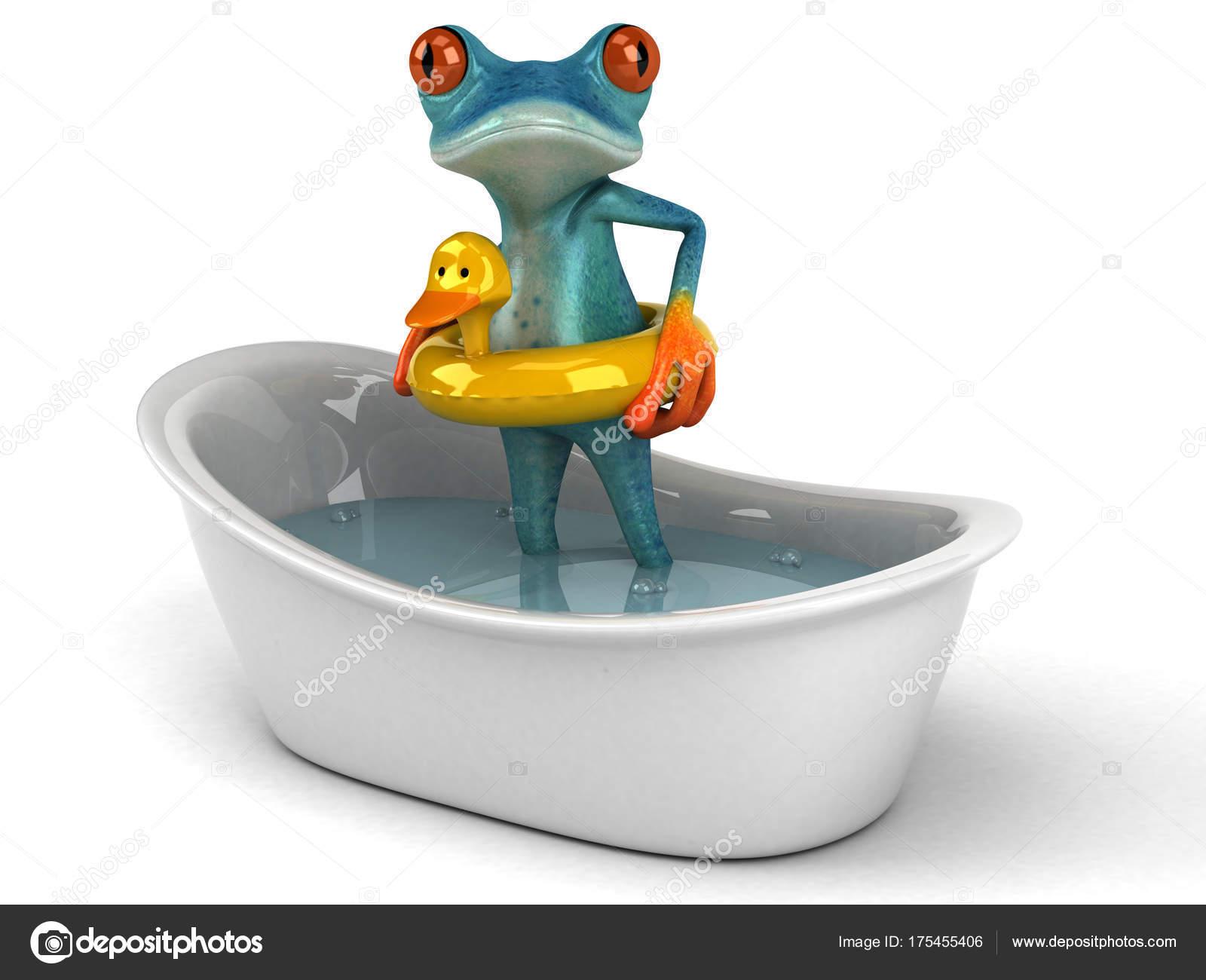Personaggio dei cartoni animati divertente rana nella vasca bagno