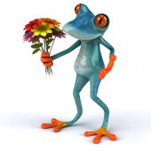Fun frog holding flowers - 3D Illustration