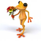 Fun frog cartoon character with flowers  - 3D Illustration