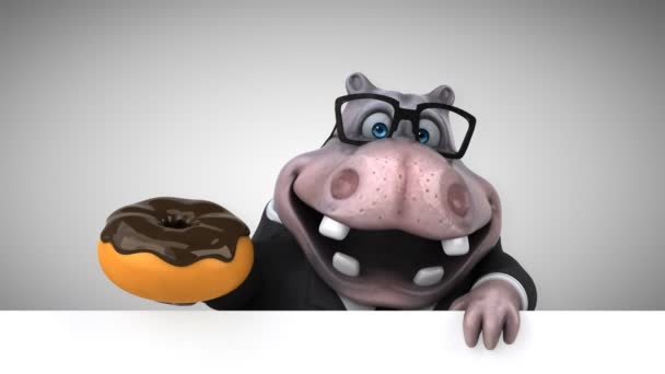 Personaggio dei cartoni animati ippopotamo che tengono animazione