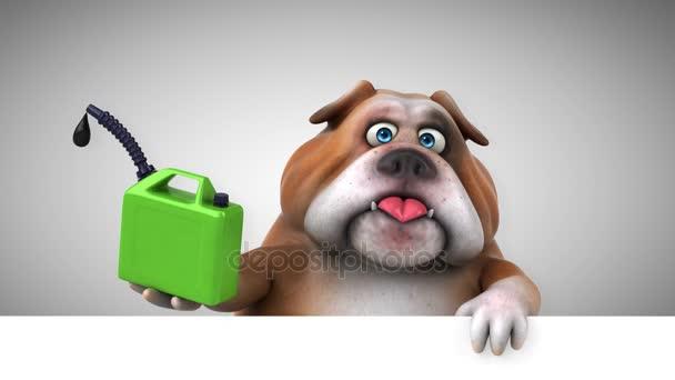 Bulldog Komik çizgi Film Karakteri Ile Petrol Animasyon Stok Video