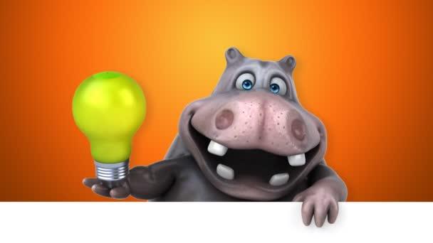Aygırı Komik çizgi Film Karakteri Ile Ampul Animasyon Stok Video
