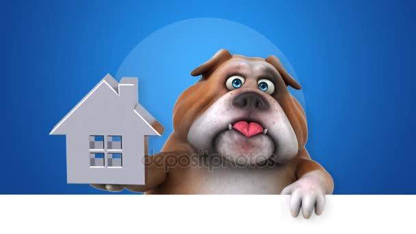 Bulldog Komik çizgi Film Karakteri Ile Animasyon Stok Video