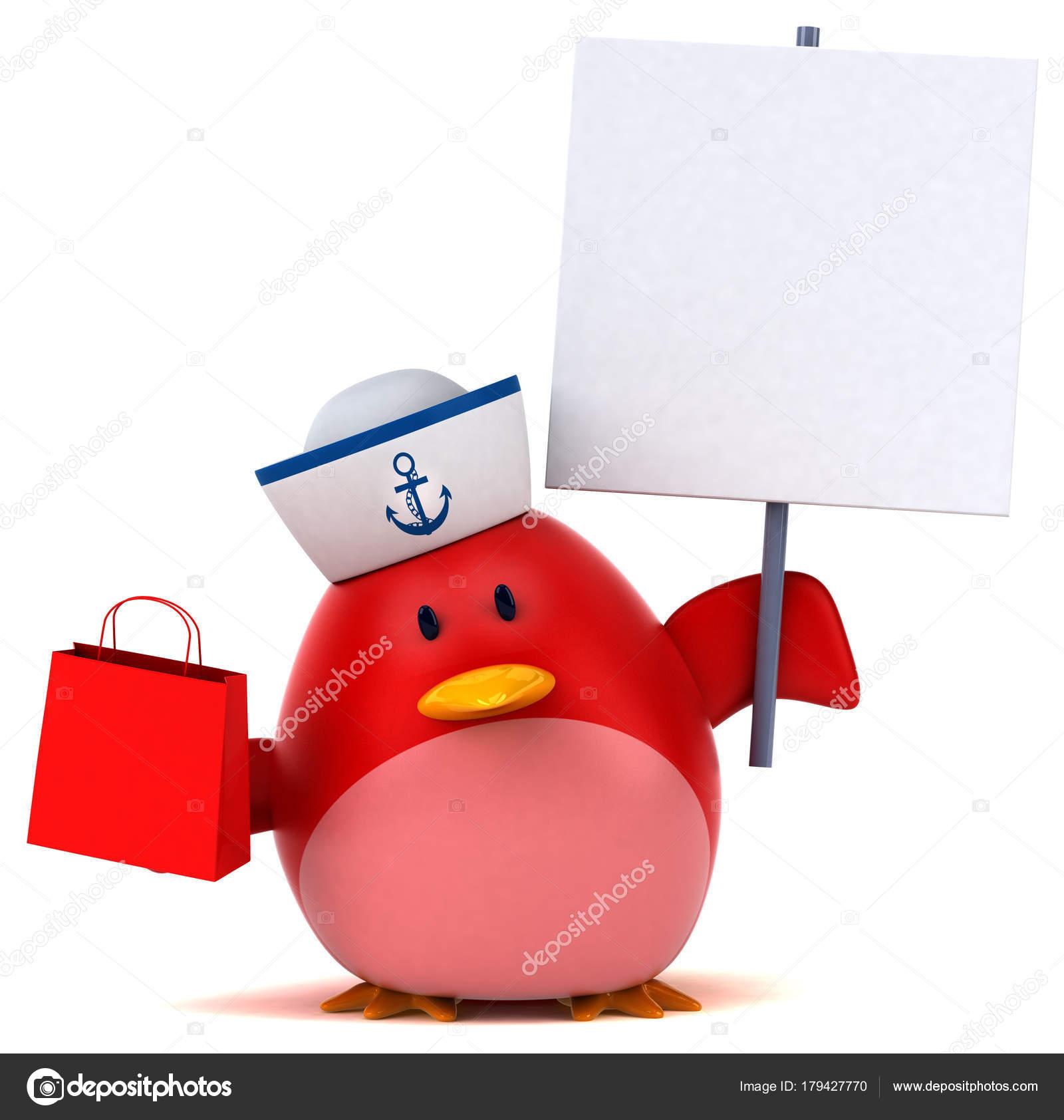 Personagem Desenho Animado Com Sacola Compras Ilustração Stock