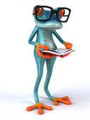 Fun frog with book  - 3D Illustration