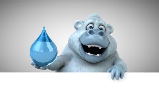 Personaggio dei cartoni animati yeti che tiene acqua goccia