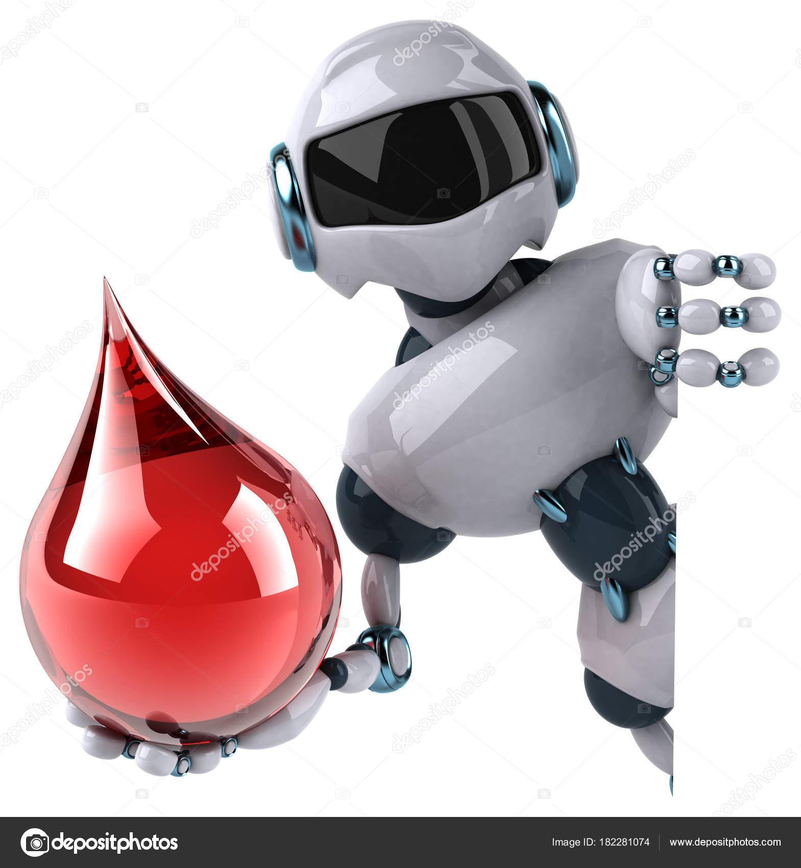 Personaggio dei cartoni animati robot con goccia u foto stock