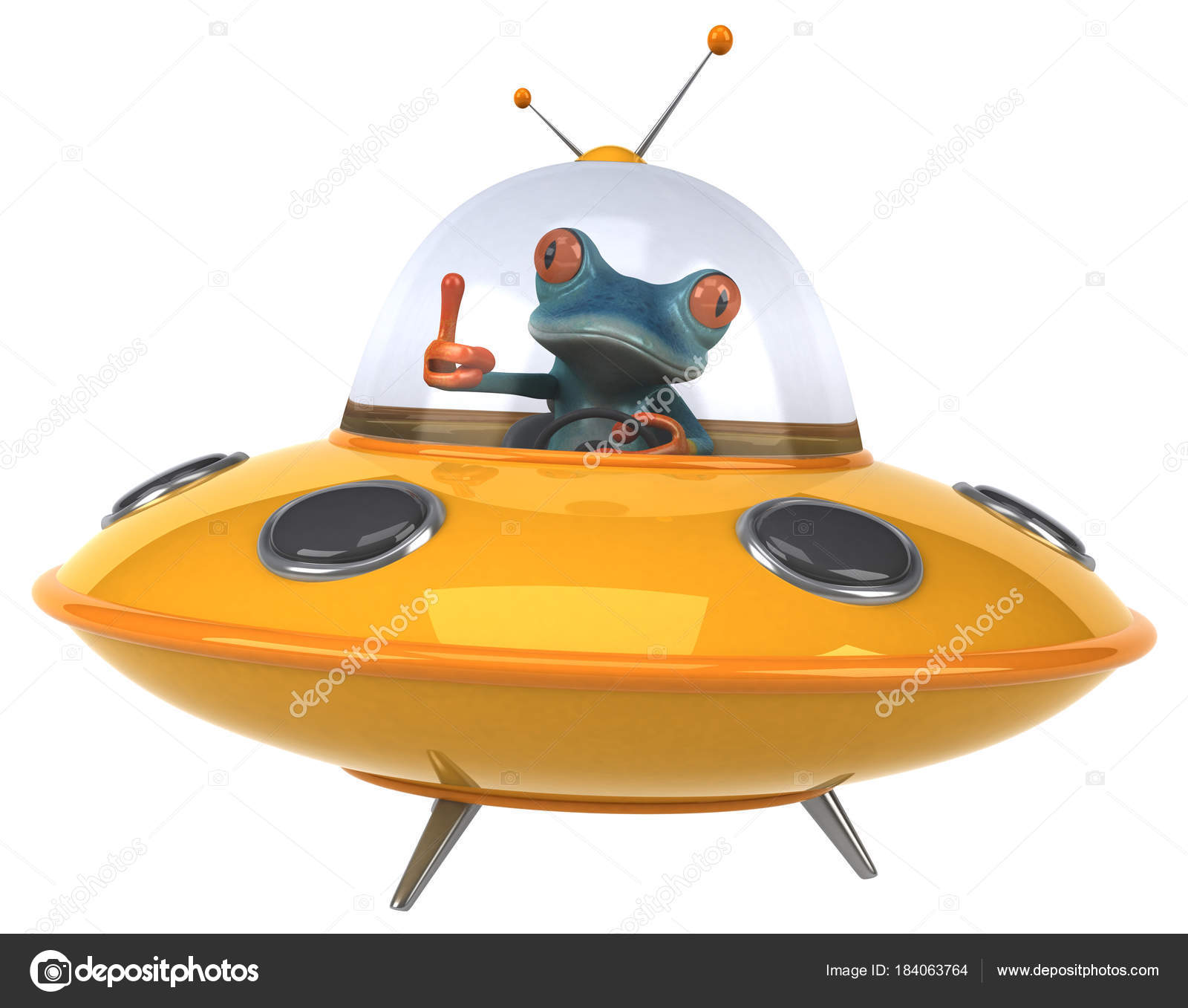 宇宙船 イラストで楽しいカエル ストック写真 Julos 184063764