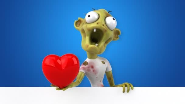 Zombi Komik çizgi Film Karakteri Ile Kalp Animasyon Stok Video