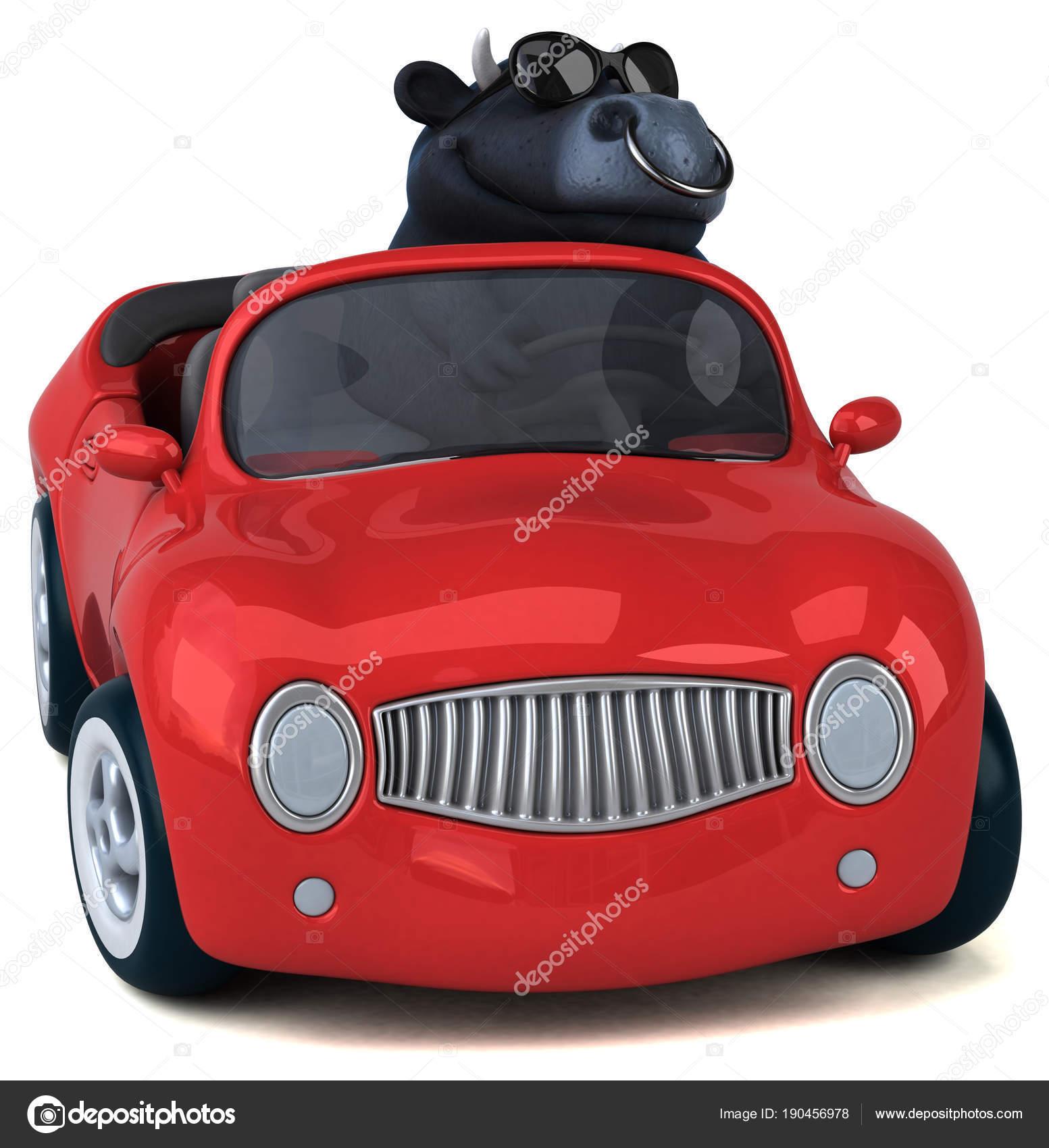 Personagem Desenho Animado Divertido Carro Ilustracao Stock