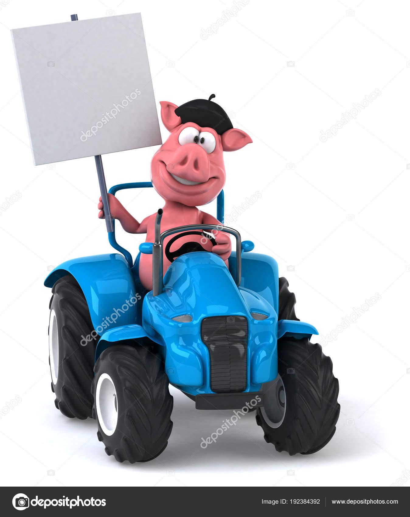 Vtipne Kreslene Postavicky Traktor Obrazek Stock Fotografie