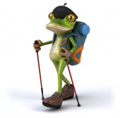 Fun backpacker frog - 3D Illustration