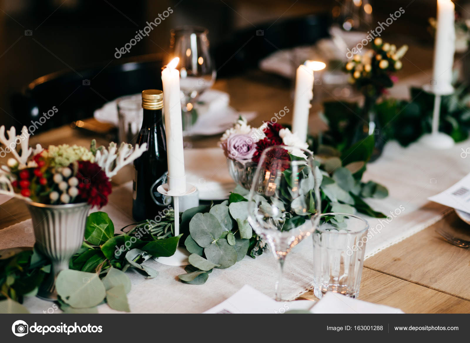Table served for wedding party. Candles decoration cutlery and drinks on festive table. Wedding table decorated with flowers and candles. Table setting ... & Table served for wedding party. Candles decoration cutlery and ...