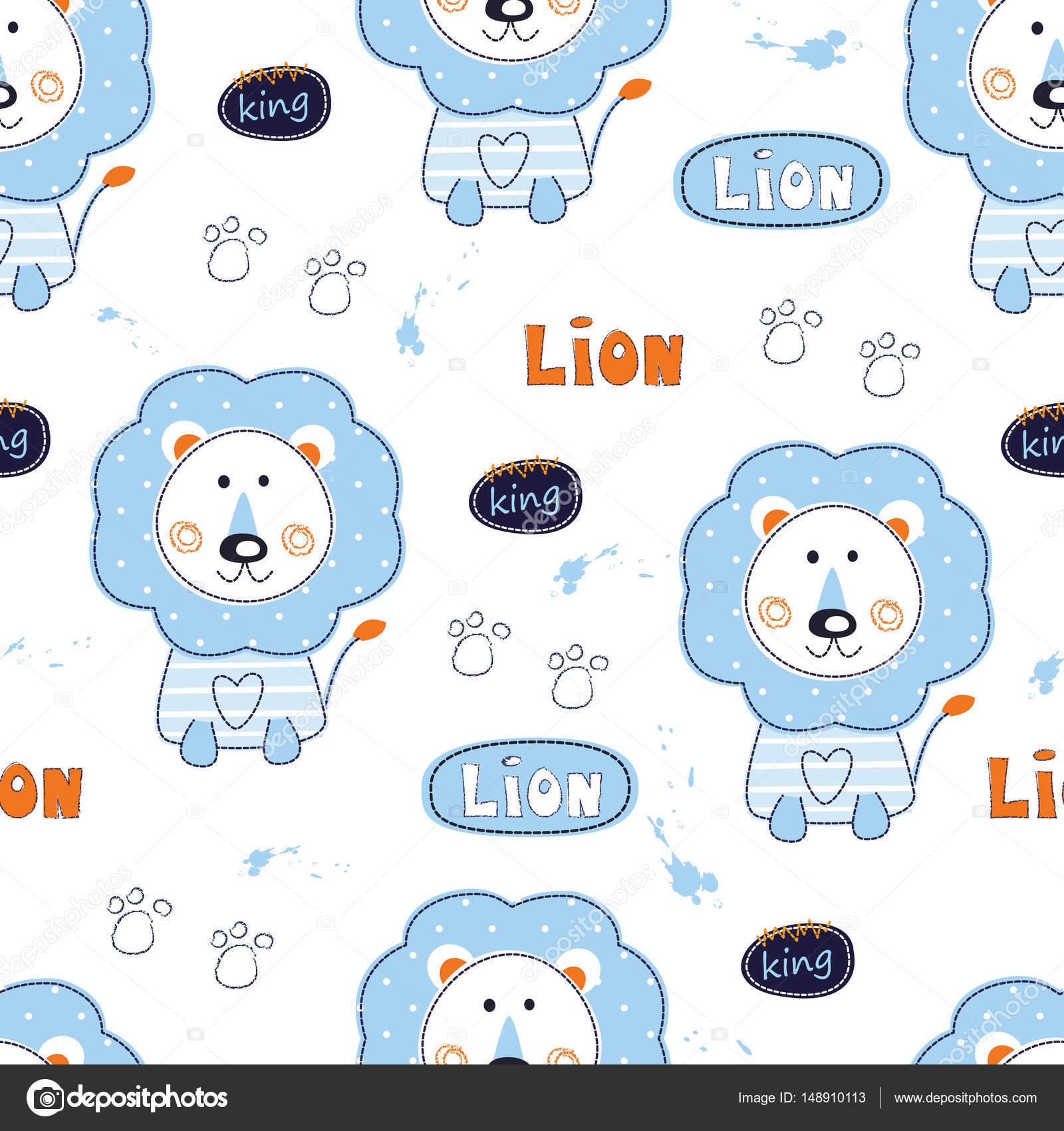 Nahtlose Muster mit niedlichen Löwen — Stockvektor © Annata78 #148910113