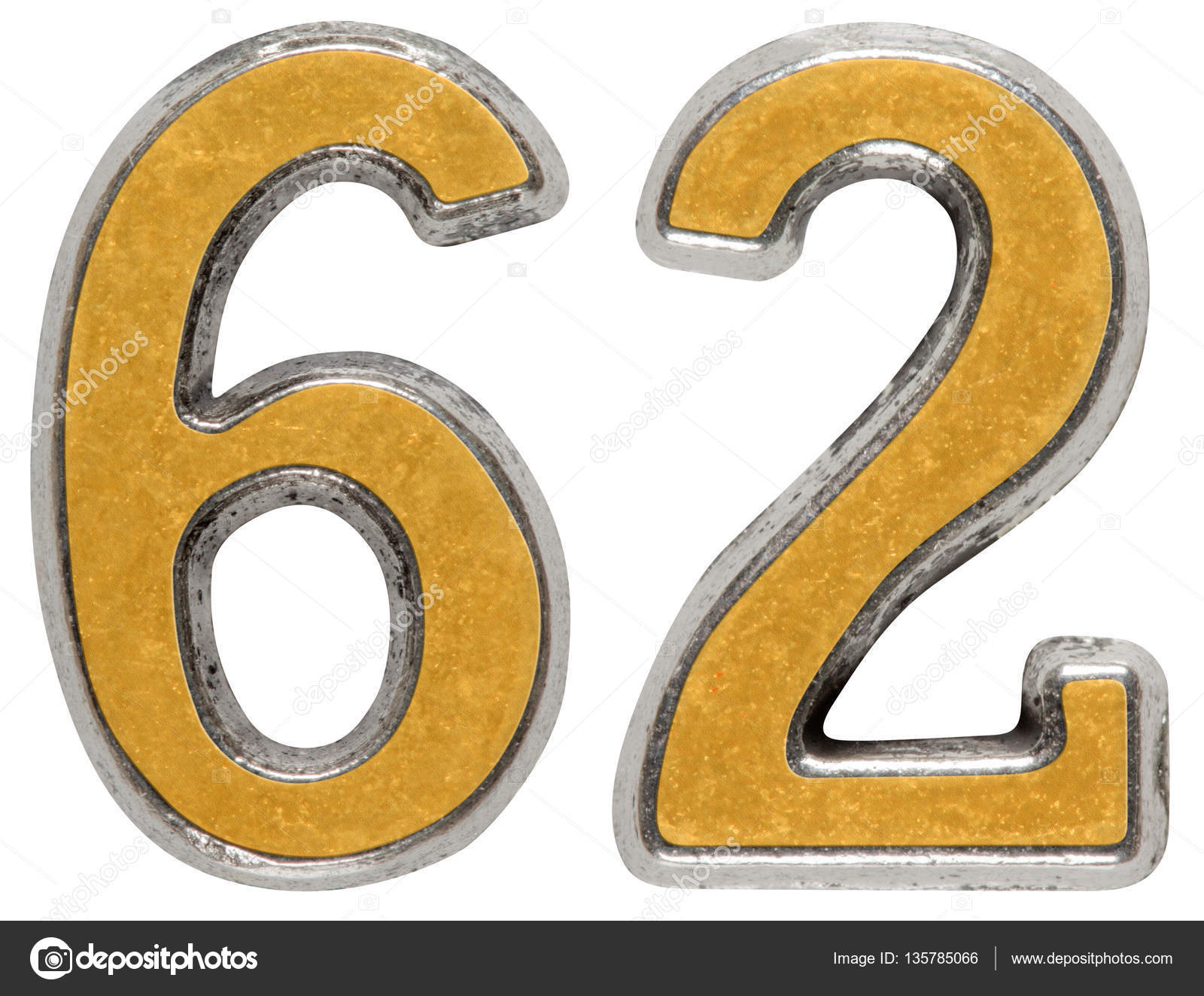 Metal numeral 62, sixty-two, isolated on white background — Photo by  kostyuchenko