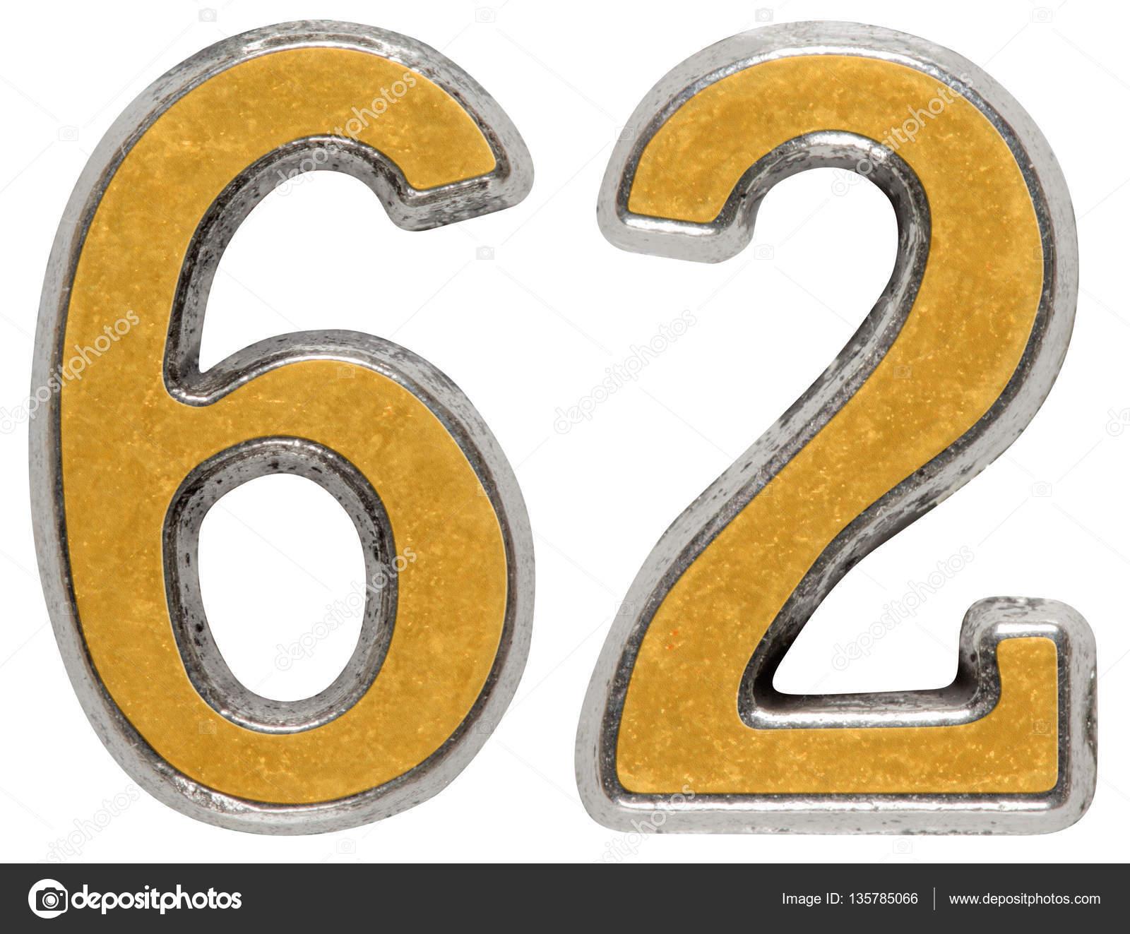 Numeral 62, sesenta y dos, aislado en fondo blanco de metal — Fotos de