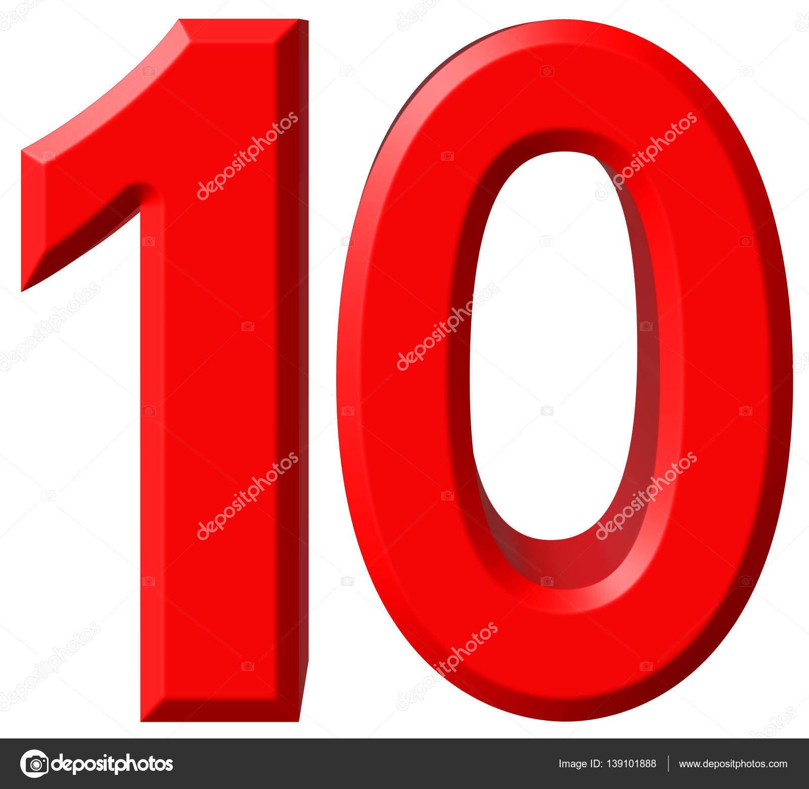10: Cijfer 10, Tien, Geïsoleerd Op Een Witte Achtergrond, 3d