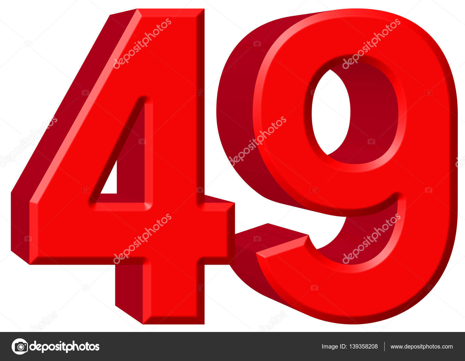 Numeral 49, forty nine, isolated on white background, 3d render — Stock  Photo