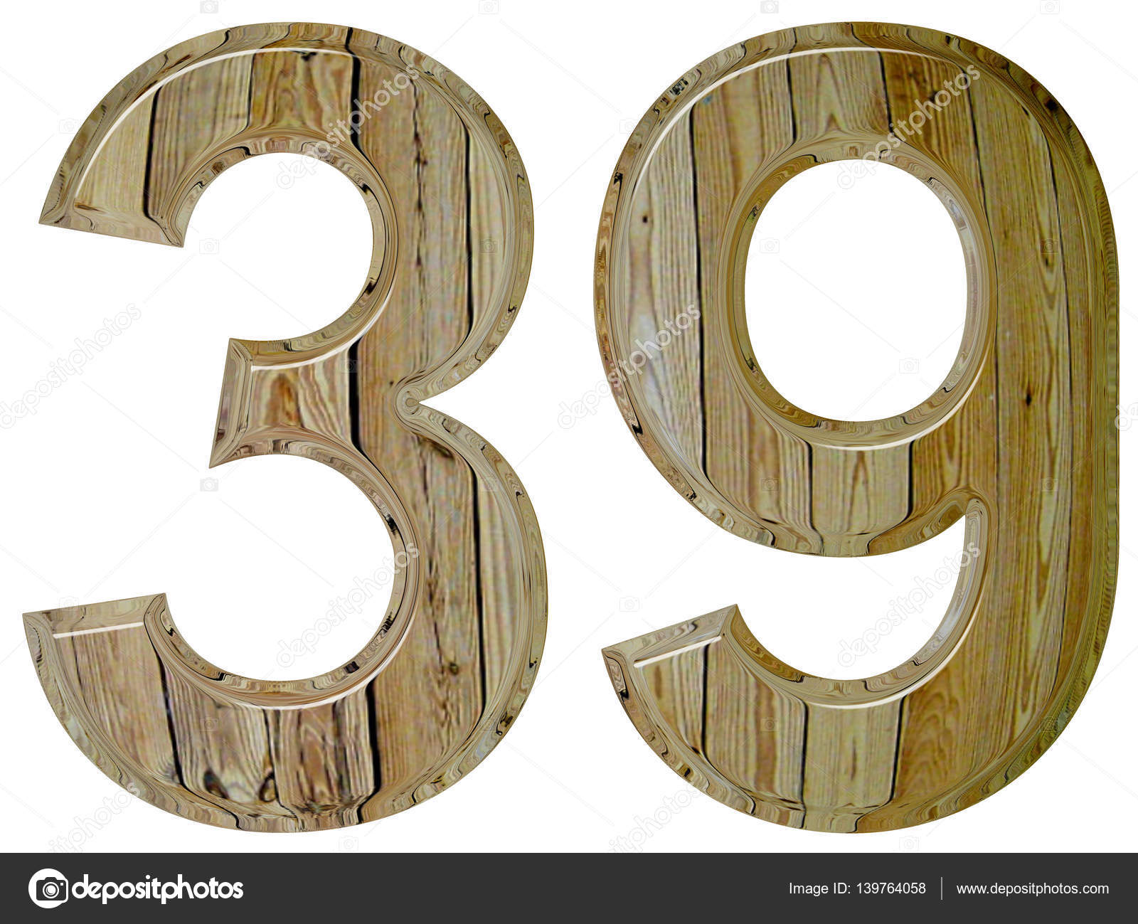 Numeral 39 Thirty Nine Isolated On White Background 3d Render