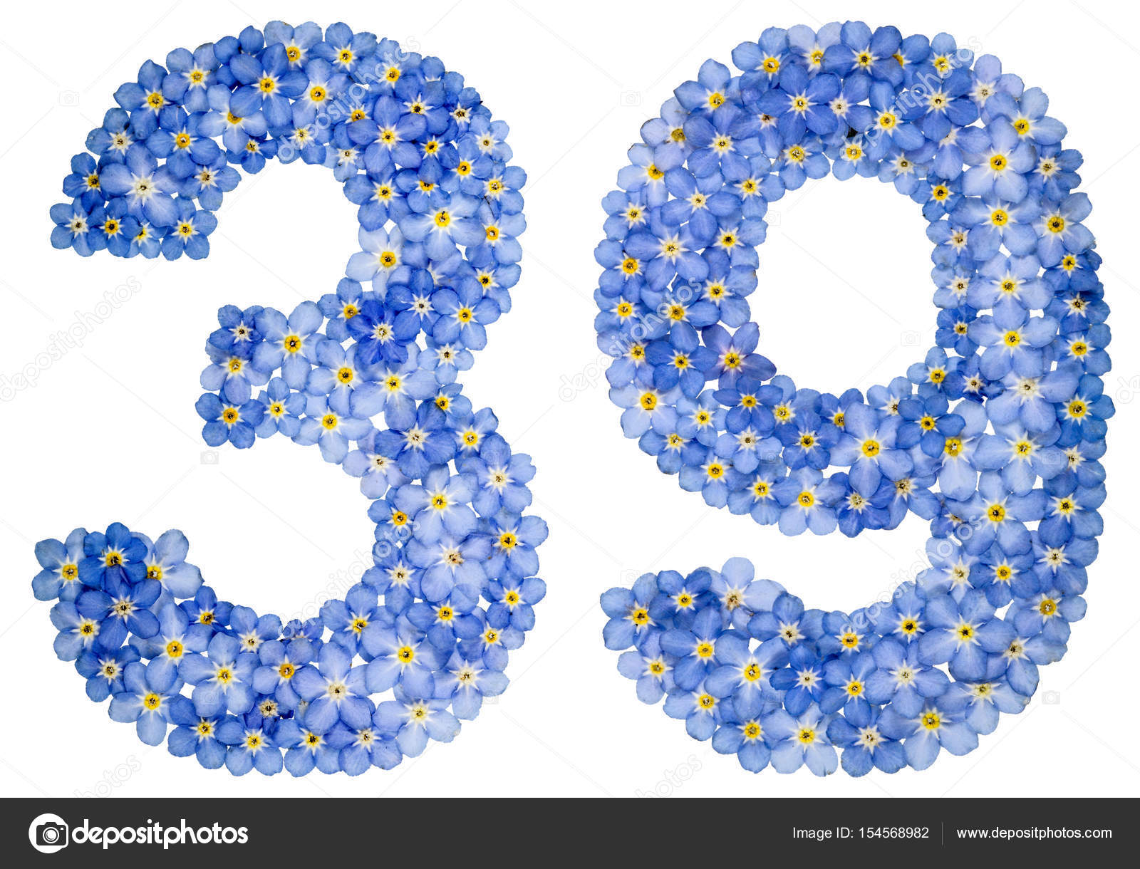 Arabic numeral 39, thirty nine, from blue forget-me-not flowers, isolated  on white background — Photo by kostyuchenko