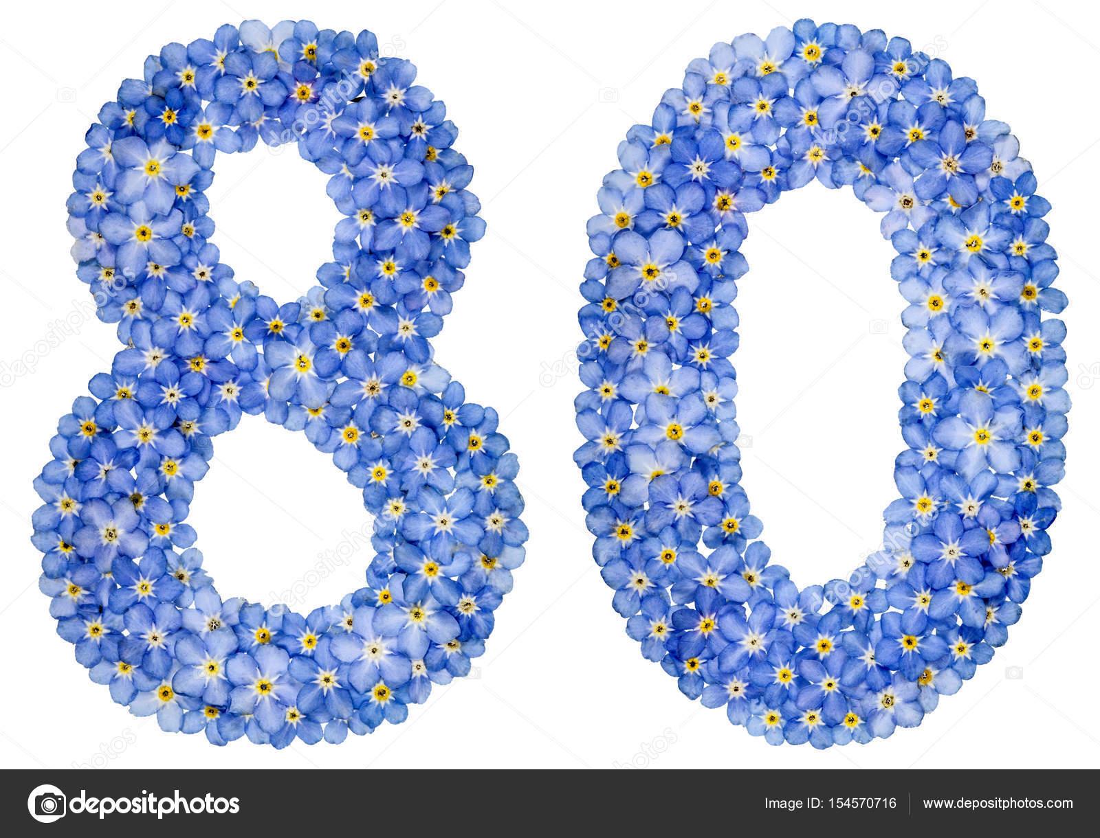 Número arábigo 80, ochenta, de flores nomeolvides azul — Fotos de Stock