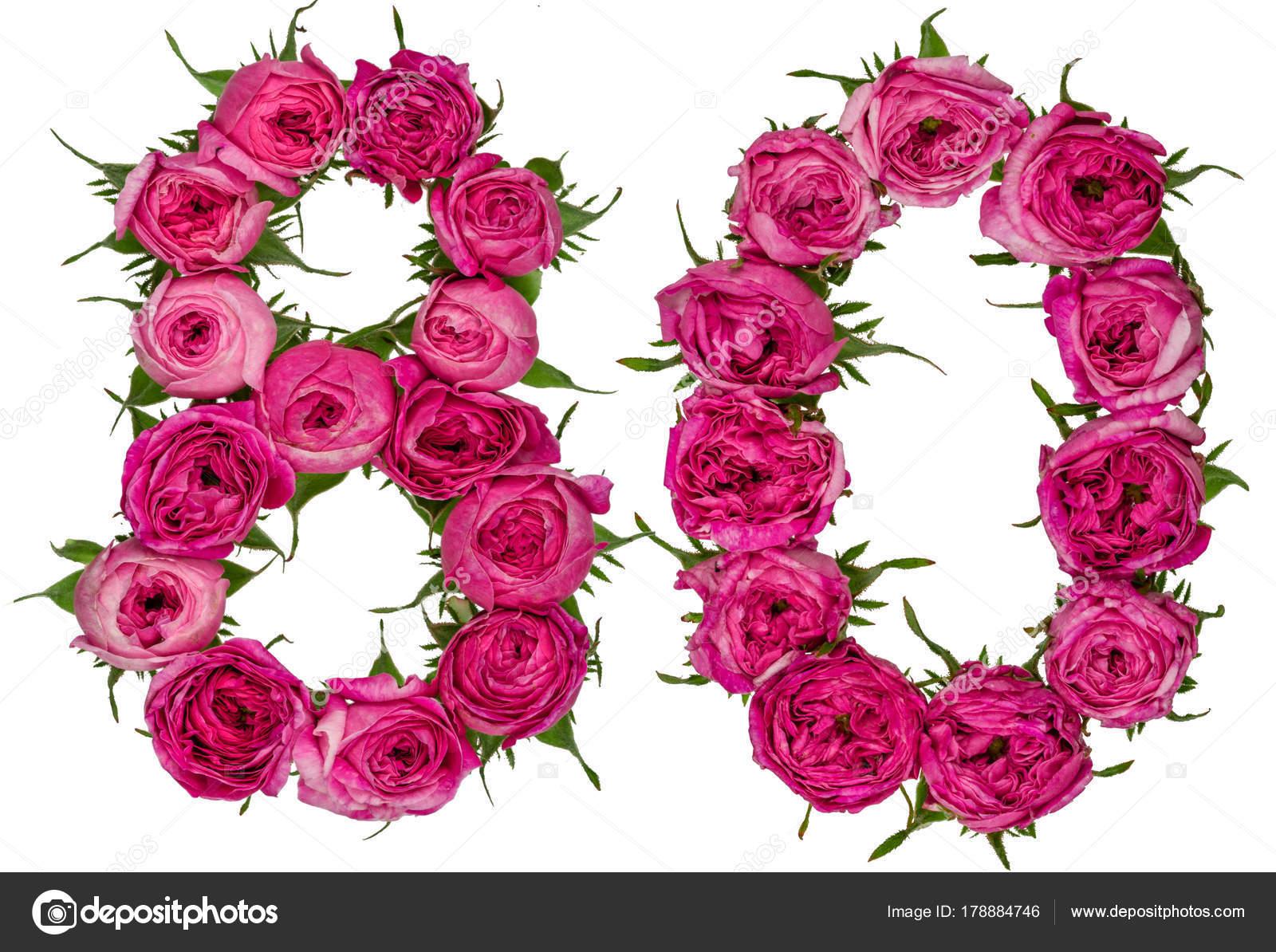 Chiffre arabe 80 80 ans de fleurs rouges de rose for Bouquet de fleurs 80 ans