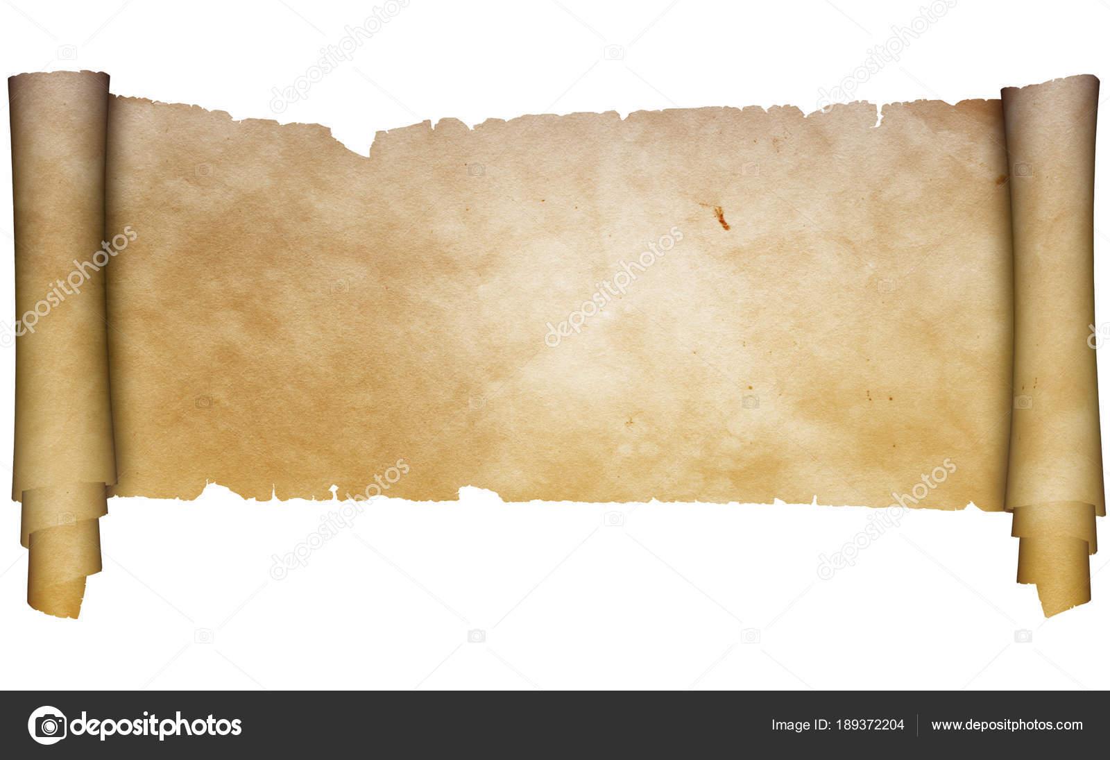 antique parchment scroll on white background stock photo ke77kz