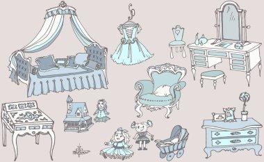 girls retro room 1 blue