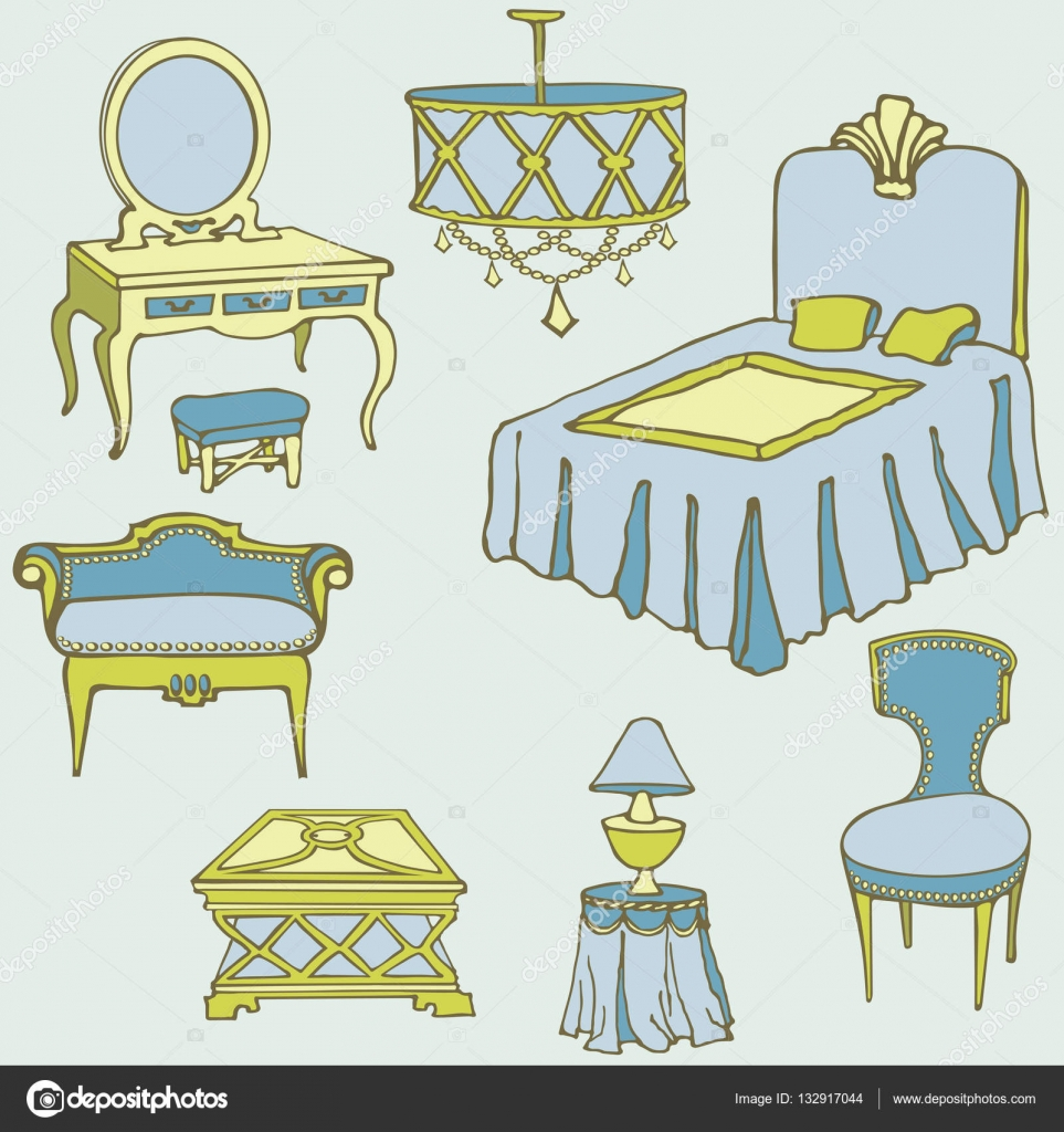 muebles segundo cama color azul — Vector de stock © AnnaLug #132917044