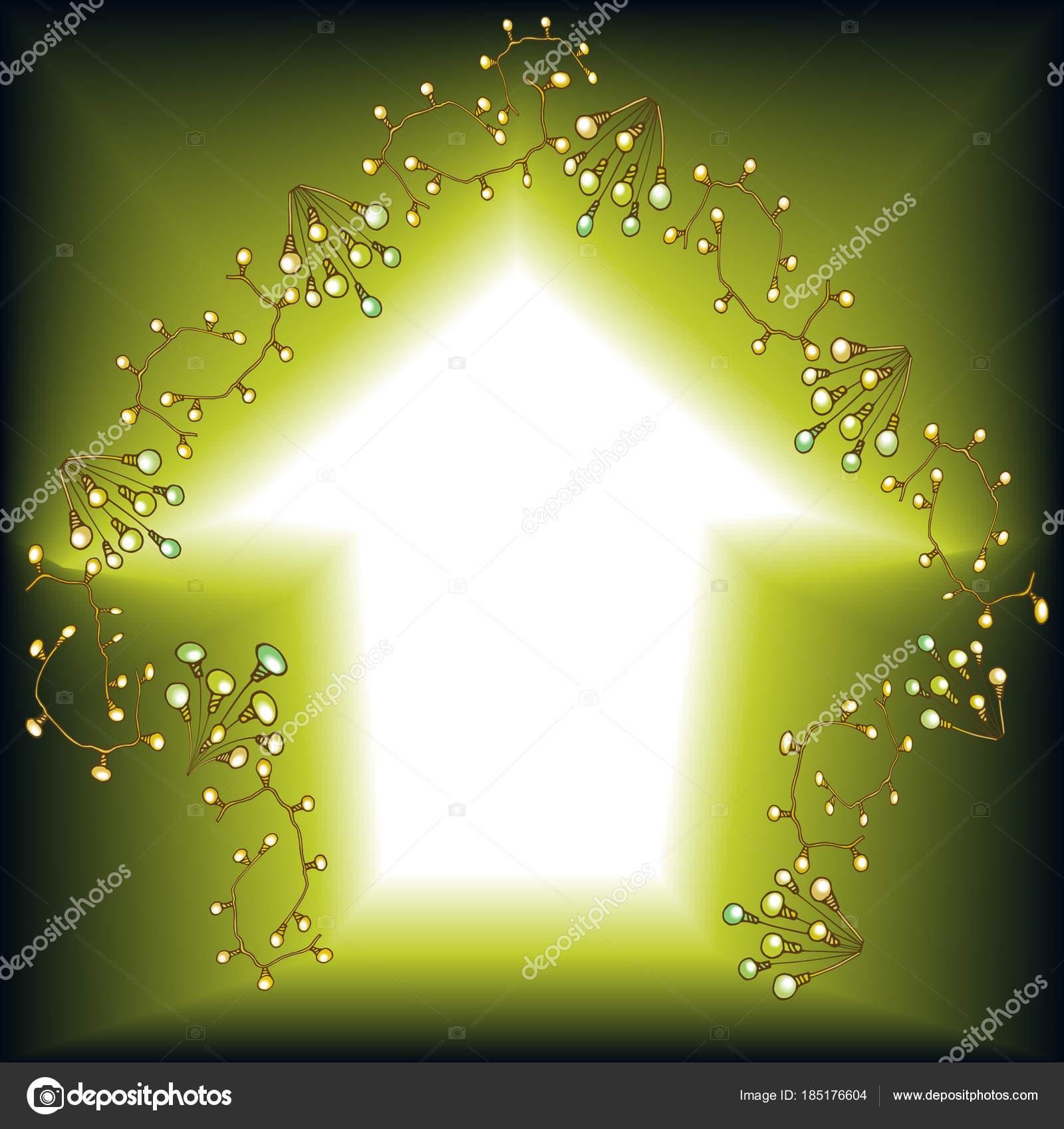 Kartenhaus Girlande elektrische Lampen — Stockvektor © AnnaLug ...