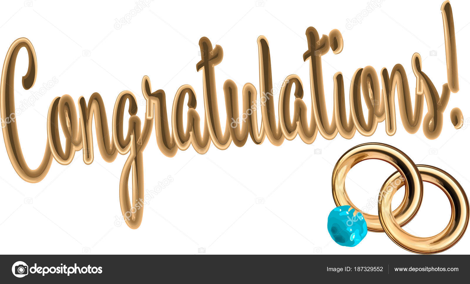 Vector Inscription Congratulations Gold Letters White Background