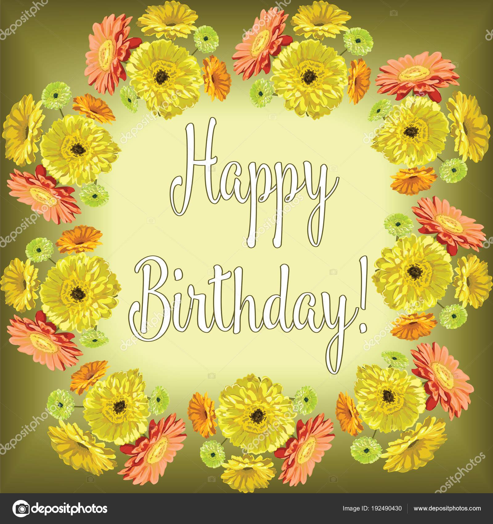 Gerbera Cornice Di Fiori Per Congratulazioni Buon Compleanno