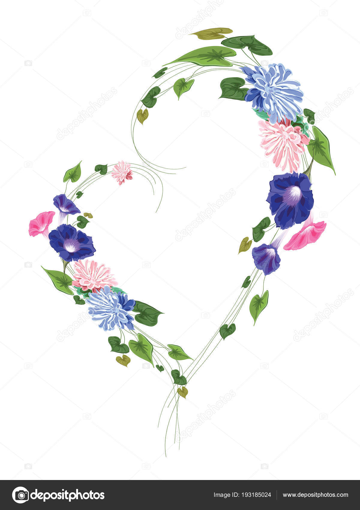 Wreath heart shaped frame made from flowers leaves and curly st wreath heart shaped frame made from flowers leaves and curly stems astra vine ivy green pink blue on white background in vector isolated vector by mightylinksfo