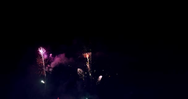 Skutečný barevný ohňostroj displej na tmavé obloze, národní svátek Nový rok oslavy