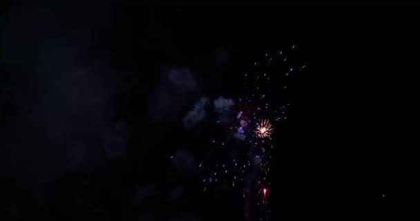 Skutečný barevný ohňostroj displej na tmavé obloze, národní svátek Nový rok oslavy, 4k